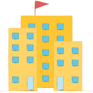 Illustration of a group of business buildings