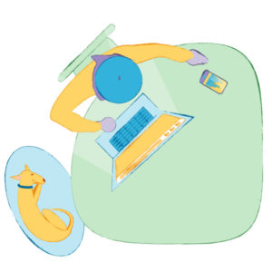 Illustration of an aerial view of a freelance web designer/developer working at a desk