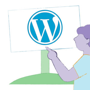 Illustration of a WordPress supporter pointing to the sign with the WordPress logo to signify how welcoming the WordPress community is