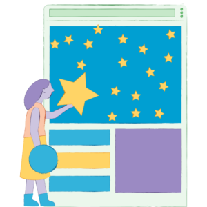 Illustration of an enthusiastic woman adding stars to her small business WordPress website while feeling inspired