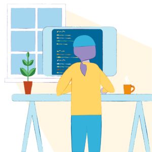 Illustration of WordPress Developer working at a standing desk writing code