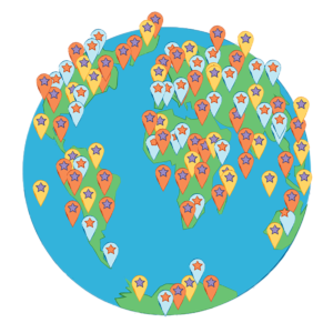 Illustration of the globe identifying audiences all over the world use WordPress