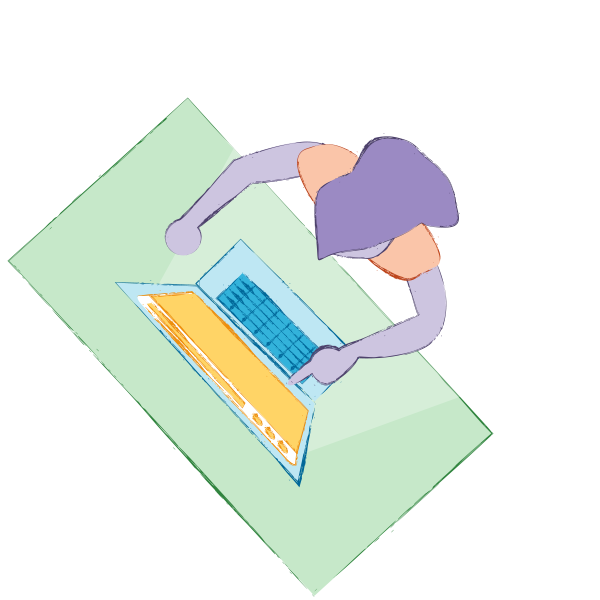 Illustration of an aerial view of a WordPress content publisher at a standing desk